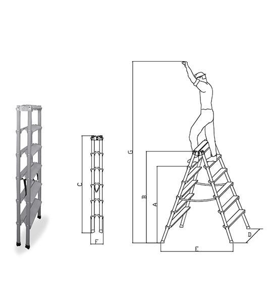 scala doppia a due salite